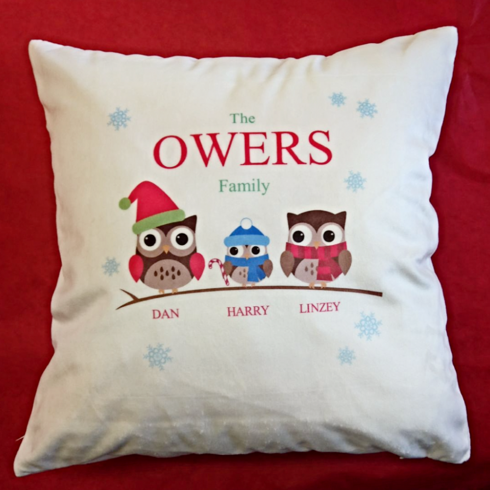 Personalised Owl Family Christmas Cushion